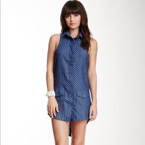 One Teaspoon Homesick Blue Polka Dot Shirt Dress
